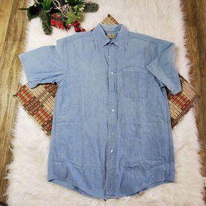LL Bean Blue Denim Short Sleeve Button Down Shirt